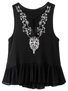 Asymmetric Embroidered Tank Top
