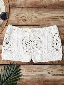 Boxer Crochet Bikini Bottom - White