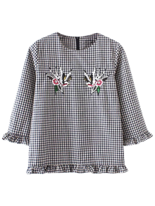 Buy Checked Frilled Blouse - BLACK L