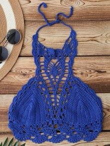 Cut Out Crochet Bikini Top - Blue