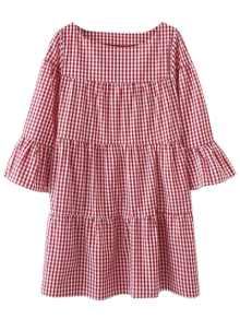 Casual Checked Straight Dress - Red L