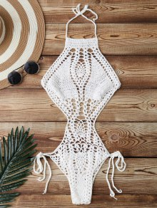 High Cut Crochet Swimwear - White
