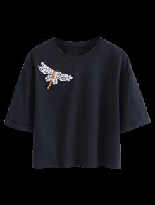 Dragonfly Rhinestone Cropped T-Shirt