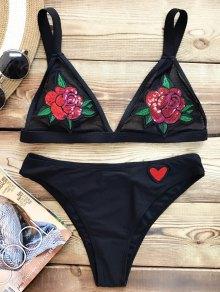 Sequins Floral Sheer Bralette Bikini Swimsuit - Black