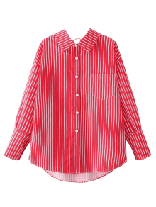 Pocket Flat Collar Striped Shirt