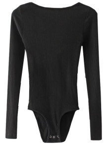 Low Back Ribbed Bodysuit - Black