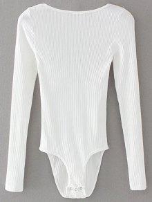 Low Back Ribbed Bodysuit - White