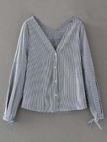 V Neck Striped Tie Cuff Blouse