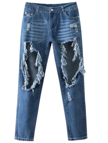 Cut Out Destroyed Tapered Jeans - Blue Xl