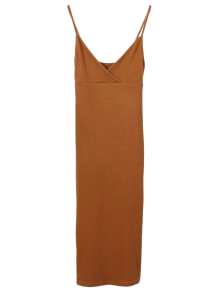 Slip Surplice Slinky Tank Dress - Camel S