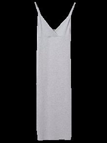 Slip Surplice Slinky Tank Dress - Light Gray S