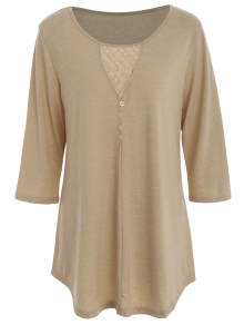Lace Insert Buttons Embellished Oversized T-Shirt
