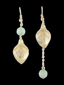 Leaf Chain Beads Asymmetric Earrings