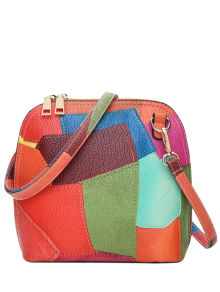 Zip Around Color Blocking Cross Body Bag - Jacinth