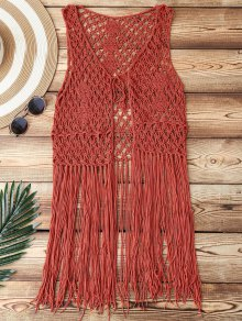 Open Front Fringes Crochet Cover Up - Brick-red