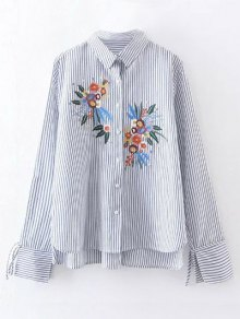 High Low Flower Embroidered Striped Shirt