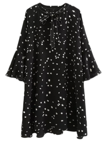 Star Print Flare Sleeve Bow Tie Dress