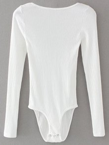 Low Back Ribbed Bodysuit - White