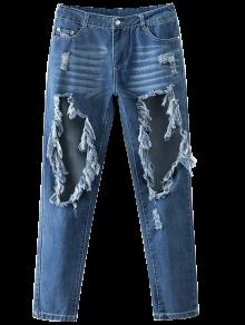 Recorte Destroyed Jeans Cónicos - Azul