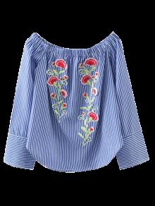 Embroidered Off Shoulder Striped Blouse