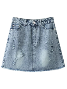 Frayed Distressed Denim Mini Skirt