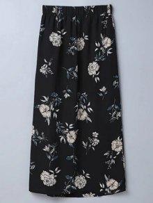 Slit Floral A-Line Skirt