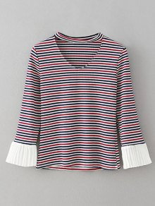 Chiffon Panel Striped Choker T-Shirt