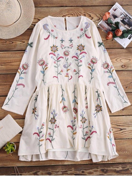 Vestido del delantal bordado con el vestido del resbalón - ARROZ BLANCO  L