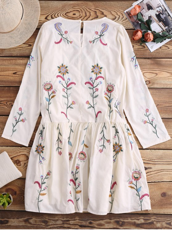 Embroidered Smock Dress With Slip Dress - OFF WHITE M Mobile