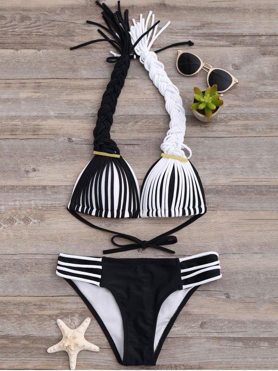 Empuje hacia arriba del bikini con banda trenzada - Blanco y Negro S