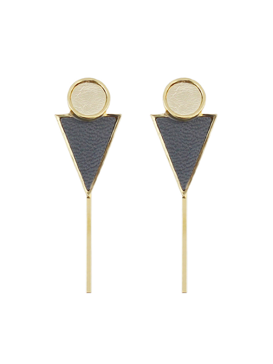 Triangle Circle Bar Earrings - GRAY  Mobile