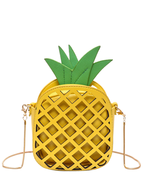 online Funny Pineapple Shaped Crossbody Bag - YELLOW
