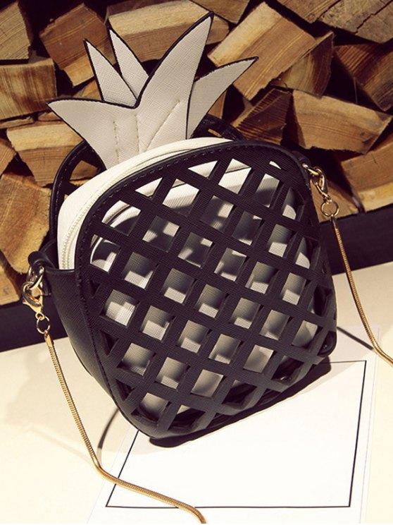 Funny Pineapple Shaped Crossbody Bag - BLACK  Mobile