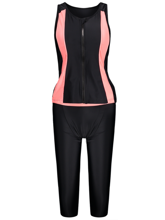 Tankini Top and Swim Pants Diving Wetsuit - BLACK S Mobile