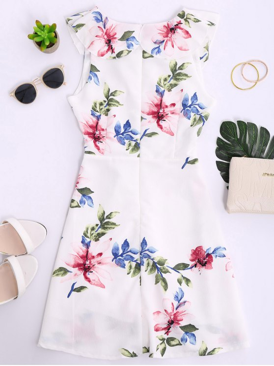 Ruffles Floral Plunging Neck Strappy Dress - WHITE S Mobile
