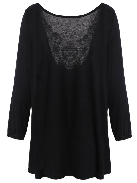 Lace Panel Backless Oversized T-Shirt - BLACK ONE SIZE Mobile