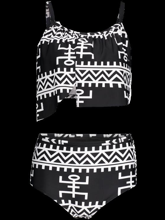 Asymmetric Layers High Waisted Bikini - BLACK 2XL Mobile