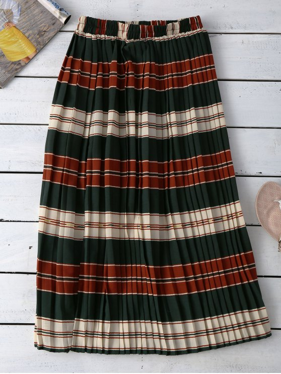 Striped Pleated Skirt - COLORMIX ONE SIZE Mobile