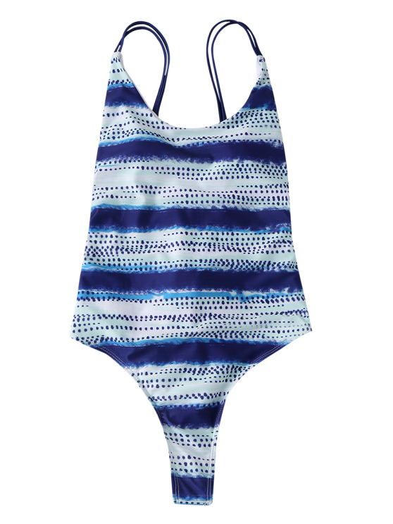 Lace Up Tye-Dyed Swimwear - BLUE XL Mobile