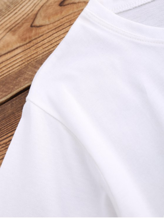 Lace Up Waistband Blouson T-Shirt - WHITE S Mobile