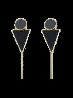 Triangle Circle Bar Earrings - Black