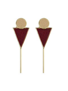 Triangle Circle Bar Earrings - Wine Red