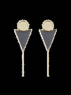 Triangle Circle Bar Earrings - Gray