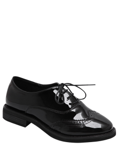 Wingtip Patent Leather Tie Up Flat Shoes - Black 39
