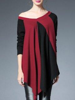 Haut Bicolore à Encolure En V Et épaules Dégagées - Rouge Et Noir