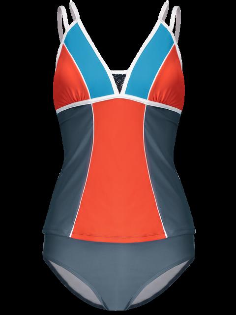 women Color Block Tankini Swimsuit For Juniors - GRAY + ORANGE S Mobile