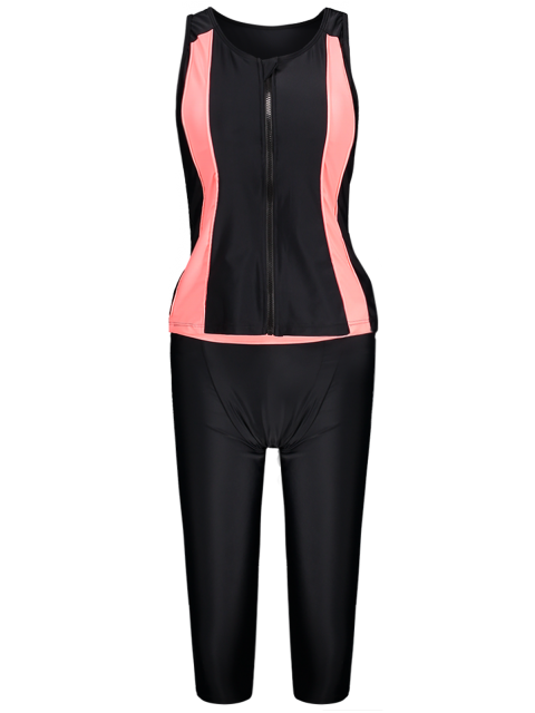 women's Tankini Top and Swim Pants Diving Wetsuit - BLACK S Mobile