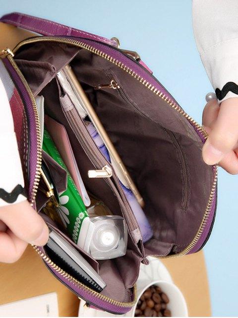 ladies Zip Around Color Blocking Cross Body Bag - PURPLE  Mobile