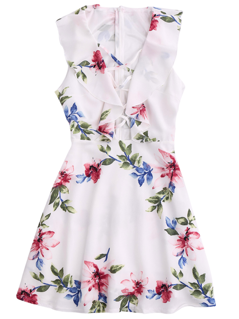 shops Ruffles Floral Plunging Neck Strappy Dress - WHITE M Mobile