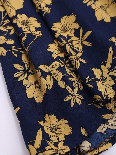 buy Sleeveless V Neck Floral Dress - CERULEAN M Mobile